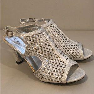 Women silver dress rhinestone heels sandals Sz 8 08f9204d07a